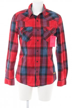 edc Long Sleeve Shirt red-blue check pattern casual look