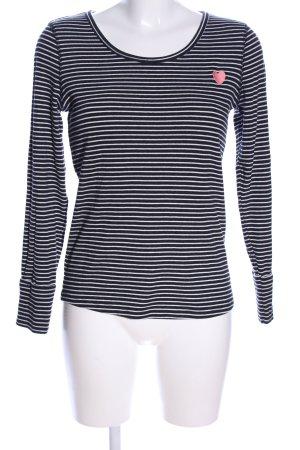 edc Longsleeve schwarz-weiß Streifenmuster Casual-Look
