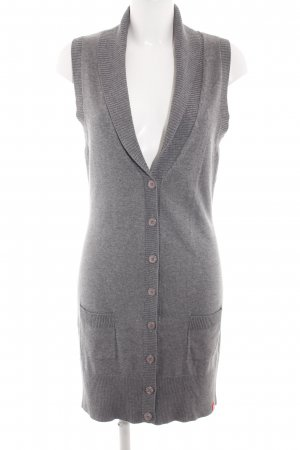 edc Cardigan lungo smanicato grigio chiaro puntinato stile casual