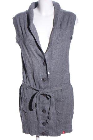 edc Gilet long tricoté gris clair moucheté style d'affaires
