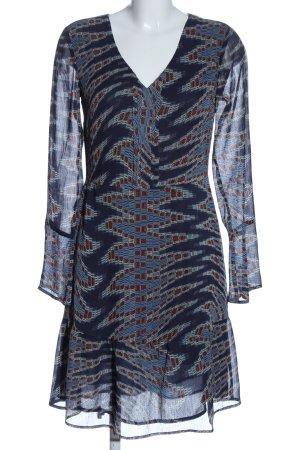 edc Blusenkleid blau-rot abstraktes Muster Casual-Look