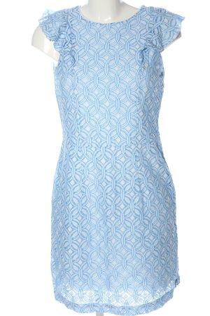 edc Minikleid blau-weiß Allover-Druck Elegant