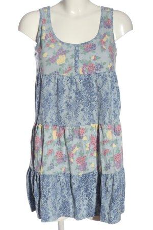 edc Minikleid blau-pink Blumenmuster Casual-Look