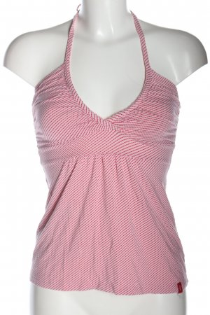 edc Top senza maniche bianco-rosa motivo a righe stile casual