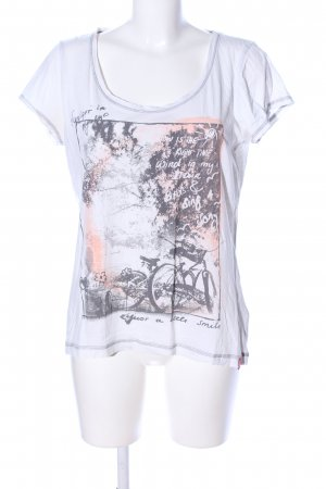 edc Print-Shirt weiß-hellgrau Motivdruck Casual-Look