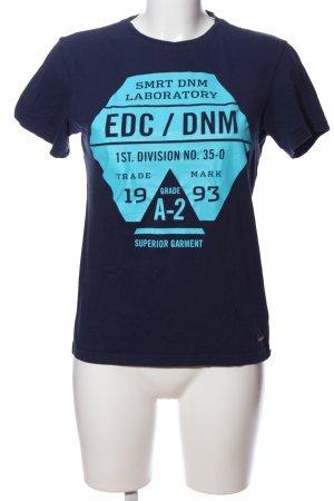 edc Print-Shirt blau Motivdruck Casual-Look