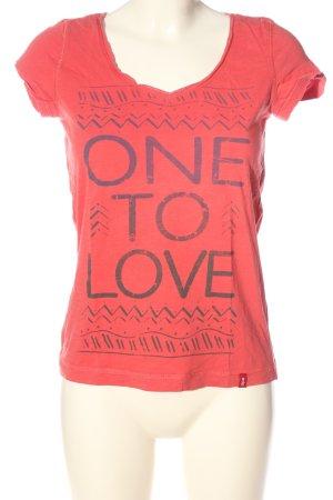 edc Print-Shirt rot-schwarz Motivdruck Casual-Look