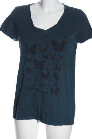 edc Print-Shirt blau-schwarz Motivdruck Casual-Look