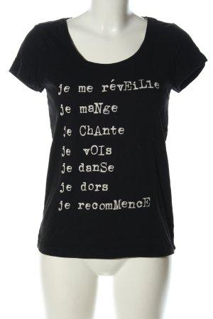 edc Print-Shirt schwarz-weiß Schriftzug gedruckt Casual-Look