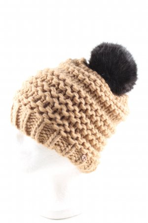 edc Bobble Hat nude-black cable stitch casual look