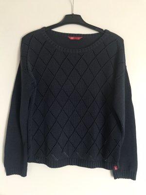 edc Pullover a maglia grossa blu scuro-grigio ardesia