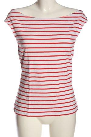 edc Koszulka w paski biały-czerwony Na całej powierzchni W stylu casual