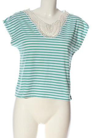 edc Gestreept shirt wit-groen volledige print casual uitstraling