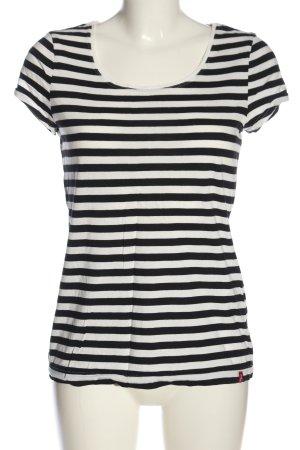edc Koszulka w paski czarny-biały Wzór w paski W stylu casual