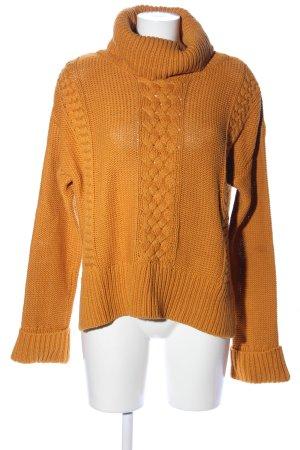 edc Jersey de cuello alto naranja claro punto trenzado look casual
