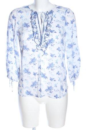 edc Rüschen-Bluse weiß-blau Blumenmuster Casual-Look