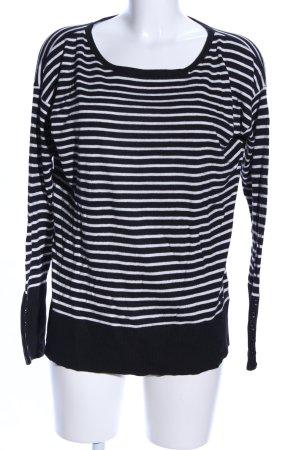 edc Rundhalspullover schwarz-weiß Streifenmuster Casual-Look