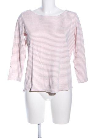 edc Rundhalspullover weiß-pink Streifenmuster Casual-Look