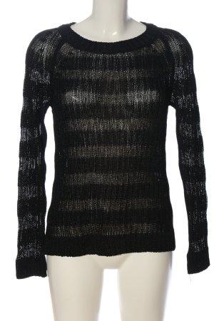edc Pull ras du cou noir-gris clair motif rayé style décontracté