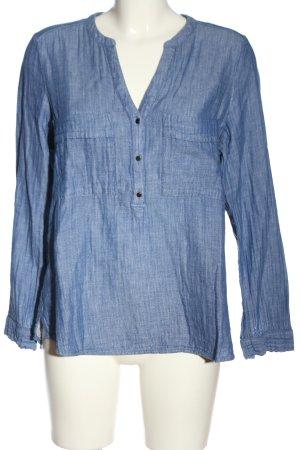 edc Schlupf-Bluse blau-weiß meliert Casual-Look