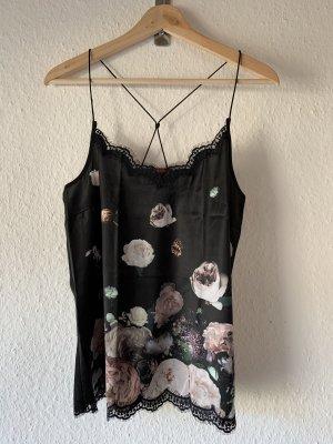Edc Seidentop schwarz Blumendruck elegant