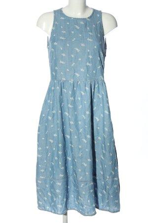 edc Sommerkleid blau-weiß Allover-Druck Casual-Look