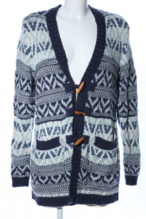 edc Strickjacke blau-weiß grafisches Muster Casual-Look