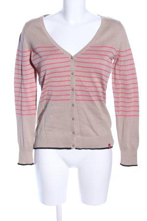 edc Strickjacke wollweiß-pink Streifenmuster Casual-Look