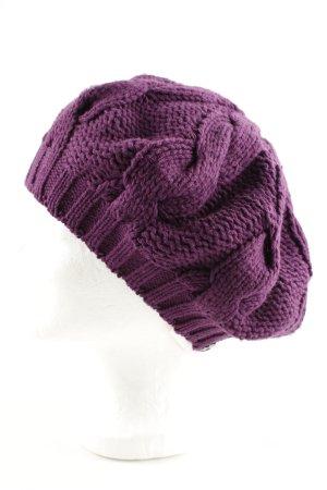 edc Chapeau en tricot violet torsades style décontracté