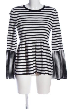 edc Strickpullover weiß-schwarz Streifenmuster Casual-Look