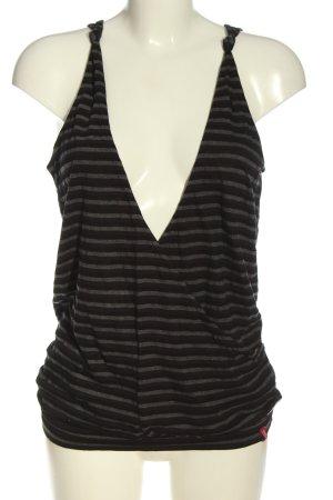 edc Top lavorato a maglia marrone-grigio chiaro motivo a righe stile casual