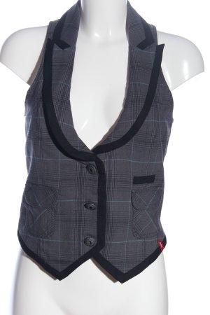 edc Gebreid vest zwart-lichtgrijs geruite print zakelijke stijl