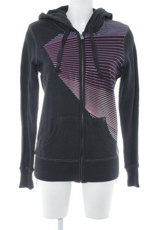 edc Sweatshirt schwarz-flieder Streifenmuster Casual-Look