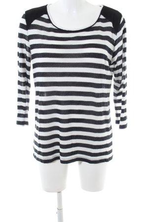 edc Sweatshirt schwarz-weiß Streifenmuster Casual-Look