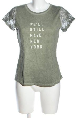 edc T-Shirt khaki-wollweiß meliert Casual-Look