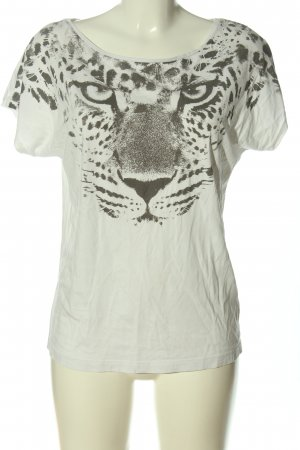 edc T-Shirt wollweiß-hellgrau Motivdruck Casual-Look