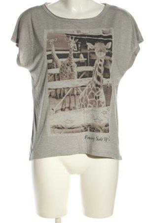 edc T-Shirt hellgrau-braun meliert Casual-Look