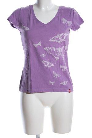 edc T-Shirt lila-hellgrau Allover-Druck Casual-Look