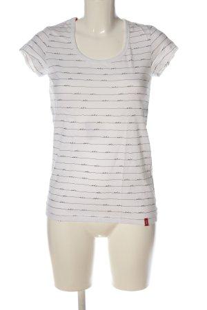 edc T-Shirt weiß-schwarz Schriftzug gedruckt Casual-Look