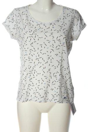 edc T-Shirt weiß-schwarz Allover-Druck Casual-Look