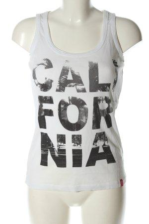 edc Camiseta sin mangas blanco-negro estampado temático look casual