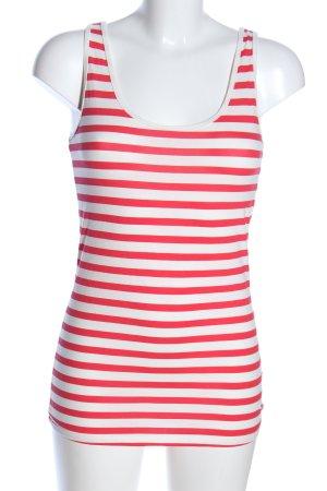 edc Tanktop wit-rood gestreept patroon casual uitstraling
