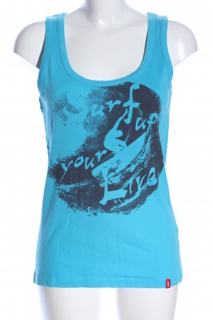 edc Tanktop blau-schwarz Motivdruck Casual-Look