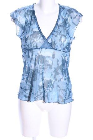 edc Transparenz-Bluse blau-hellgrau Allover-Druck Casual-Look