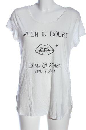 edc Boothalsshirt wit-zwart prints met een thema casual uitstraling