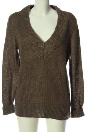 edc V-Ausschnitt-Pullover braun Zopfmuster Casual-Look