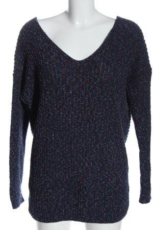 edc V-Ausschnitt-Pullover blau meliert Casual-Look