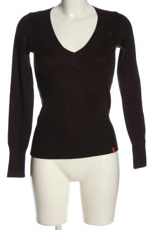 edc V-Ausschnitt-Pullover braun Casual-Look