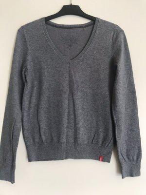 edc V-Ausschnitt Pullover basic grau casual / Business Look