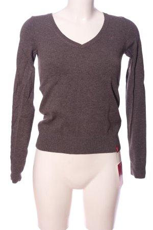 edc V-Ausschnitt-Pullover hellgrau meliert Casual-Look